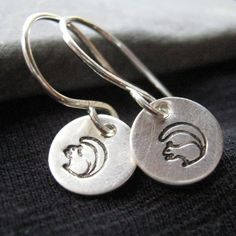 Black Squirrel sterling silver earrings  by JLynnCreations on Etsy, $12.50