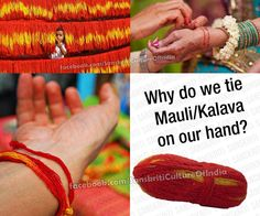 """In Hindu tradition, sacred red string bracelets are known as """"kalava"""" or """"mauli,"""" which translates to """"above all."""" Stephen Knapp, author of the ebook """"Basic Points About Vedic Culture/Hinduism: A Short Introduction,"""" notes that the kalava is tied onto a man's right wrist (and unmarried females), and a woman's left wrist at the beginning of a ceremony. It is worn for and symbolizes blessings to the wearer."""