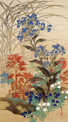 Kamisaka Sekka 1866–1942 Autumn Flowers and Grasses Meiji Period (1868-1912 A.D.) Hanging scroll(