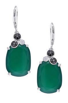 Green Chalcedony Leverback Earrings