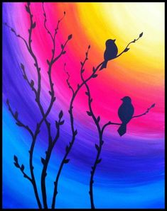 Beautiful sunset painting with birds ❤