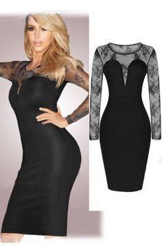 Precioso vestido encaje y escote en V celebrities de moda barato online