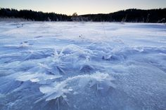Ice crystals on a lake #Norway