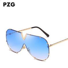 PZG mode märke överdimensionerade Pilot Eyewear Holiday solglasögon kvinnor  polariserade Stor linslegering ram med unik design 441ff487eb8e6