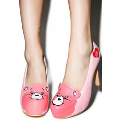 Iron Fist Care Bears Stare Platform Heels (€59) ❤ liked on Polyvore featuring shoes, pumps, vegan shoes, heart shoes, bear shoes, high heel platform pumps and iron fist pumps