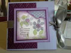 "May 2015 ~ Easy to make Squash Fold card. 8 1/2"" sq Wisteria base, SU Summer Silhouettes, stamp flower pattern (for inside of card) then fold in half, open, turn & fold in half again (makes a ""plus"" sign), open. Flip over & fold point to point, open. The diagonal folds are valleys and the rest peaks, see the video on how to make the fold. White: 3 3/4"" sq (x 2), 2 1/2"" sq, Blackberry: 4"" sq (x 2), 2 5/8"" sq, 2 1/2"" x 4"", Wisteria: 3"" sq, DSP: 1 3/4"" x 1 1/2"".  Wisteria, Blackberry & Pear ink"