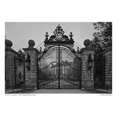 Entrance gate of the Breakers mansion at dusk. Newport, Rhode Island,... ❤ liked on Polyvore featuring backgrounds, pictures, places, pics and photos