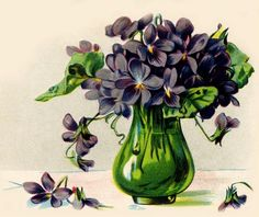 paintings of violets in a green vase