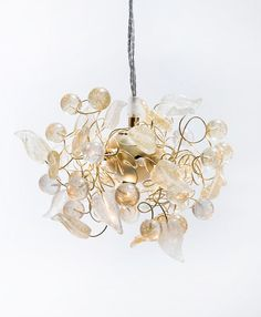 Glamoureux Ceiling Pendant Light / Hand Made / Transparent & Gold Epoxy Leaves gently sprinkled with glitter