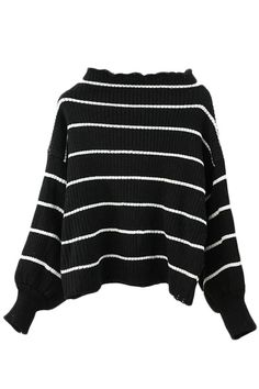 High Neck Stripes Balloon Long Sleeve Pullover Sweater