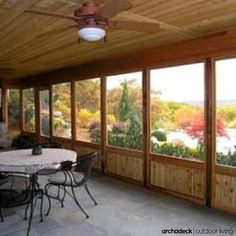 Wood Screened Porch On Stone Patio