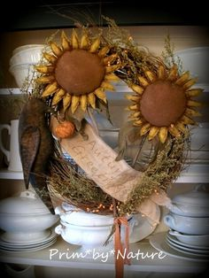 Primitive Fall Sunflower and Crow Wreath with Sweet Annie and Pip Berries in Antiques, Primitives Primitive Wreath, Primitive Fall, Primitive Crafts, Primitive Christmas, Primitive Sheep, Primitive Candles, Country Primitive, Fall Halloween, Halloween Crafts