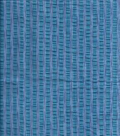 Fashion Cotton Fabric Seersucker Vari Stripe Turq Cotton