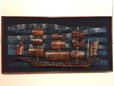 WITCO WILRONGO 3D Viking Ship Mid Century Modern Tiki Art Original Signed 48x 25 | eBay Tiki Art, Viking Ship, Mount Vernon, Mid Century Modern Art, Black Canvas, Midcentury Modern, Wine Rack, Vikings, Black And Brown