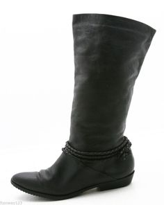 Womens dress Boots Size 10 M black leather knee high braids pointed toe #Unbranded #FashionKneeHigh
