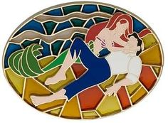 Ariel and Prince Eric stained glass pin
