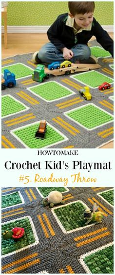 Kid's Playmat Crochet Patterns Kid Outdoor Blanket Gifts - LWeppler - - Kid's Playmat Crochet Patterns Kid Outdoor Blanket Gifts Crochet Roadway Throw Playmat Free Crochet Pattern – Kids Free Patterns Kids Gifts Crochet Car, Crochet Gratis, Cute Crochet, Baby Blanket Crochet, Crochet For Kids, Crochet Toys, Crochet Children, Sewing Patterns For Kids, Sewing For Kids