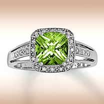 White Gold Diamond & Peridot Ring