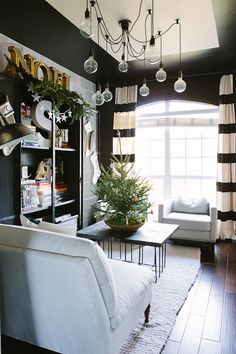 Stripe Curtains, dark walls, office inspiration | Living With Kids: Candice Stringham