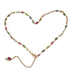 Watermelon Tourmaline Rainbow Smooth Oval Multicolor Necklace