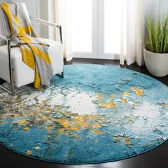 SAFAVIEH Glacier Bree Modern Abstract Rug - On Sale - Overstock - 11724988 - 9' x 9' Square - Red/Multi Orange Dining Room, Dining Room Chairs, Dining Table, Large Area Rugs, Blue Area Rugs, Blue Gold, Blue Yellow, Color Blue, Open Shelving Units