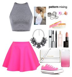 """""""#PatternMixing"""" by ellen2104 ❤ liked on Polyvore featuring UNIF, Converse, MICHAEL Michael Kors, J.Crew, Pieces, By Terry, Stila, Victoria's Secret and Gorgeous Cosmetics"""
