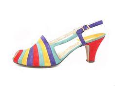 1930s | Salvatore Ferragamo | Multicolored Striped Sling Back Shoes.