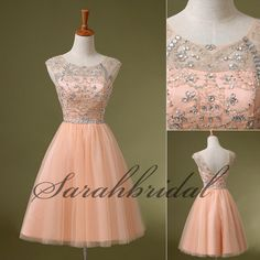 Blush Scoop Ball Gowns Beading Short Prom Dress Cocktail Party Homecoming Dress #Sarahbridal #Aline #Cocktail