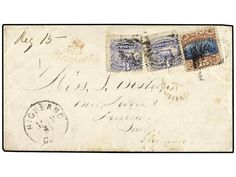 ESTADOS UNIDOS. 1870 (May 29). Registered cover to LUDLOW, Shropshire with 1869 Locomotive 2 x 3 c. blue and single Type II 15 c. brown & blue tied by black cork cancels and red registered cancel, Crown Registered handstamp at left of arrival. GLOSTER, BIRMINGHAM & LUDLOW cds?s on reverse of scarce 21 c. rate cover. Scott 114, 119.  Dealer SOLER Y LLACH  Auction Minimum Bid: 400.00EUR