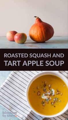 Roasted Heirloom Squash and Tart Apple Soup. A savory fall soup with red kuri squash and tart apples topped with caramelized pepitas. Can be made with any variety of winter squash from butternut to acorn to delicata to red kuri! Kuri Squash Recipe, Squash Apple Soup, Red Kuri Squash, Roasted Butternut Squash Soup, Apple Recipes, Fall Recipes, Soup Recipes, Vegetarian Recipes, Healthy Recipes