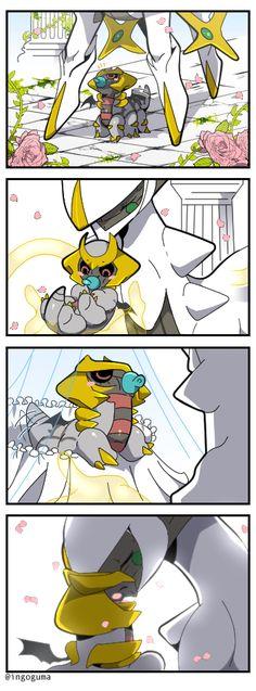 ポケモンモンスター — arceus holding a baby giratina!<<<Ok ever since I heard a theory that Giratina isn't actually like a devil Pokemon like people think it is and that it's actually just the creator of the world's gravity (just like how Dialga was time, Palkia w Pokemon Fusion, Pokemon Mew, Pokemon Comics, Pikachu, Giratina Pokemon, Mega Pokemon, Pokemon Funny, Pokemon Fan Art, Pokemon Stuff