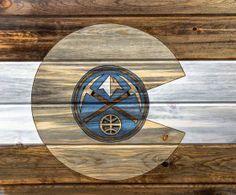 Denver Nuggets Custom Flag made by COLORADOWOODCRAFT! cowoodcraft.com