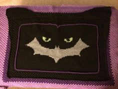 Crochet Catwoman blanket.  Stay tuned to find the pattern on Etsy!