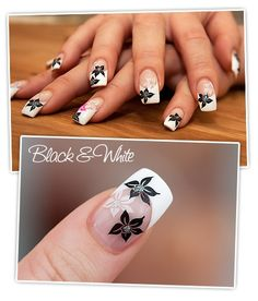 nailart blueten naildesign Nailart   Black & White