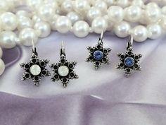 Swarovski Crystal Petite Snowflake Lever Back Earrings, Dangles, Drops,Winter, Great Gift,DKSJewelrydesigns