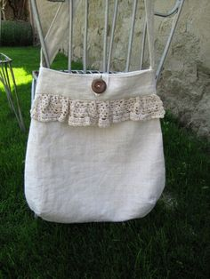natural linen and vintage lace Tote