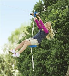 Kids' ziplines are really a blast! Our ziplines for kids are perfect for backyard fun. Ziplines hang between trees for tons of outdoor play that kids love. Zip Line Backyard, Big Backyard, Backyard Ideas, Garden Ideas, Sloped Backyard, Outdoor Play, Indoor Outdoor, Outdoor Ideas, Outdoor Toys For Kids