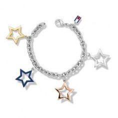 Tommy Hilfiger Damen Armband Edelstahl mit vier Sternenanhänger, silber 2700890