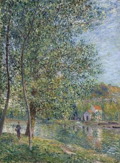Alfred Sisley Matin Pres Du Loing 1879 x cm) French Impressionist Painters, Impressionist Artists, Impressionist Landscape, Landscape Paintings, Artist Painting, Figure Painting, Pierre Auguste Renoir, Edouard Manet, Claude Monet