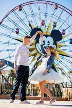 Former Disney's Fairy Tale Weddings couple Avery & Jesse spent their first year anniversary at Disney California Adventure Park Disneyland Couples, Disneyland Engagement Photos, Disney Engagement Pictures, Disneyland Photos, Disney Couples, Disney Pictures, Couple Pictures, Disneyland Photography, Disney Disney