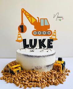 Construction Theme Cake, Construction Party Decorations, Construction Birthday Parties, Themed Birthday Cakes, Boy Birthday Parties, 2nd Birthday, Birthday Ideas, Bulldozer Cake, Digger Cake