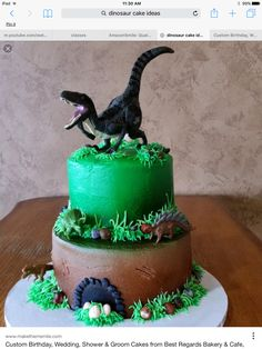 Leo's birthday cake Park Birthday, 3rd Birthday Parties, 4th Birthday, Birthday Ideas, Jurrasic Park Cake, Dinasour Cake, Jurassic World Cake, Festa Jurassic Park, Dinosaur Birthday Cakes