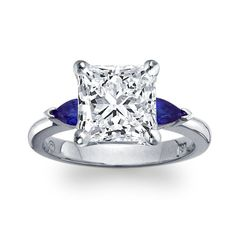 Brides.com: Three-Stone Engagement Rings. Style 2381, classic pear-shaped sapphire engagement ring in platinum, Blue Nile See more Blue Nile rings.