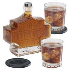 NICE ... maybe Santa will bring this ... crossing my fingers Harley Davidson Bar & Shield Decanter Set
