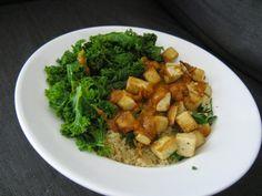 Curried peanut sauce bowl with tofu & kale