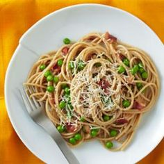 Spaghetti Carbonara with Peas Recipe from EatingWell.com #myplate #vegetables #protein