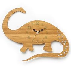 They have the cutest wall clocks in this Etsy shop! :D -- Dinosaur Wall Clock - Diplodocus Modern Clock - Childrens Clock - laser cut by Owl & Otter Dinosaur Bedroom, Modern Clock, Modern Wall, Diy Clock, Wood Clocks, Room Accessories, Wooden Walls, Creations, Home Decor