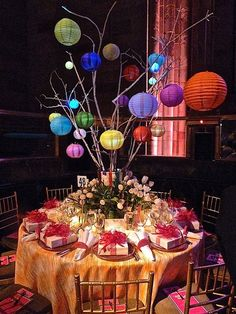Image result for paper lantern from table top tree