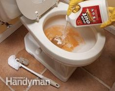 Stain removers like Super Iron Out ($10 for 5 lbs.) make quick work of rust stains in sinks, tubs and toilets. Pour it onto a sponge or add it to the water in the toilet bowl, then scrub with the sponge or a nylon-bristle brush. You can get rid of most stains in less than five minutes.