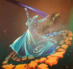 Painting Lessons, Painting & Drawing, Whirling Dervish, Very Nice Pic, Islamic Paintings, Dance Paintings, Chalkboard Drawings, Turkish Art, Arabic Art